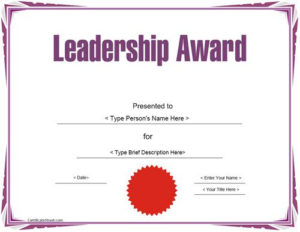 Education Certificate – Leadership Award Template with regard to Best Leadership Award Certificate Template