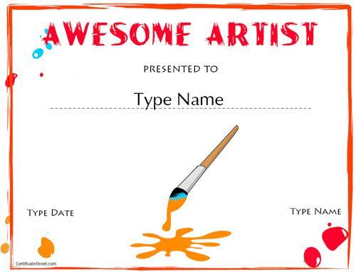 Education Certificates - Artist Award | Art Certificate, Art regarding Fresh Free Art Award Certificate Templates Editable