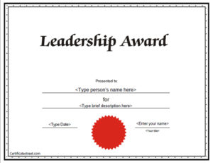 Education Certificates – Leadership Award Certificate with regard to Leadership Award Certificate Template