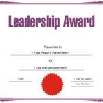 Education Certificates – Leadership Award Template With Student Leadership Certificate Template Ideas