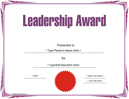 Education Certificates - Leadership Award Template with Student Leadership Certificate Template Ideas