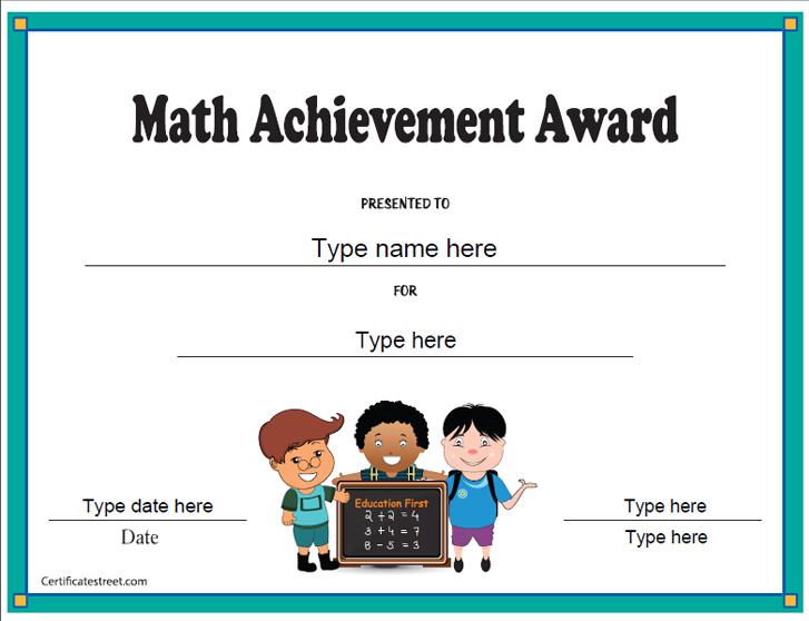 Education Certificates - Math Achievement Award pertaining to Quality Math Achievement Certificate Templates