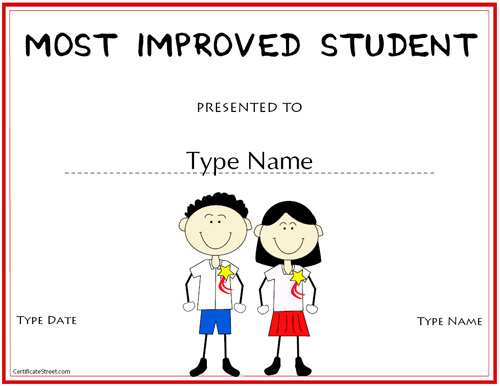 Education Certificates - Most Improved Student Award intended for Most Improved Student Certificate