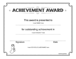 Education World: Certificate Of Achievement Award Template intended for Outstanding Effort Certificate Template