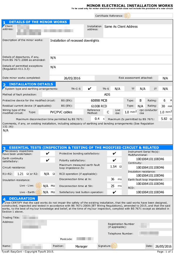 Electrical Minor Works Certificate Template 3 Di 2020 Inside in Electrical Minor Works Certificate Template