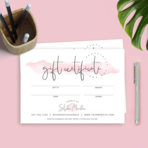 Elegant Gift Certificate Template, Business Gift Voucher Templates,  Printable Gift Card, Beauty Gift Certificate, Editable Voucher Template for Best Elegant Gift Certificate Template
