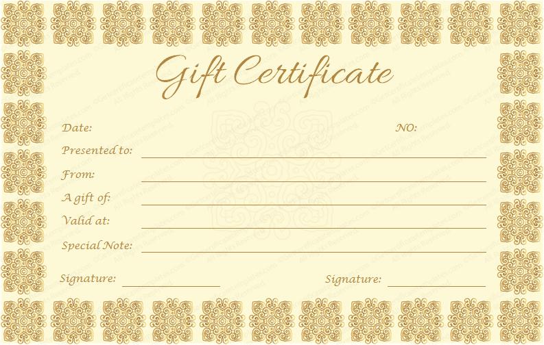 Elegant Gift Certificate Template (Golden Edition) in Best Elegant Gift Certificate Template