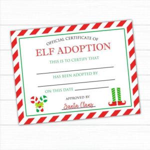 Elf Adoption Certificate Instant Download Elf Adoption regarding Quality Elf Adoption Certificate Free Printable