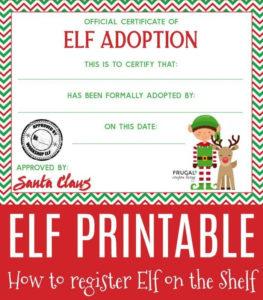 Elf On The Shelf Adoption Certificate   Adoption Certificate in Quality Elf Adoption Certificate Free Printable