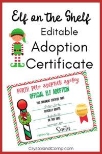 Elf On The Shelf Adoption Certificate pertaining to Elf Adoption Certificate Free Printable