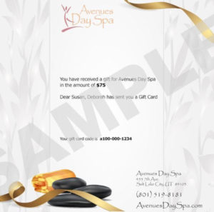 Email Gift Card – Avenues Day Spa – Salt Lake City, Ut with regard to Quality Spa Gift Certificate