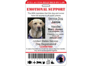 Emotional Support Service Dog Id Card Ada Tag Badge throughout Service Dog Certificate Template Free 7 Designs