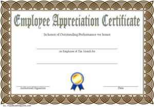 Employee Appreciation Certificate Template 1   Certificate with regard to Best Free Employee Appreciation Certificate Template