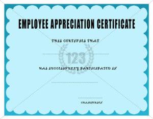 Employee Appreciation Certificate Template   Certificate in Best Free Employee Appreciation Certificate Template