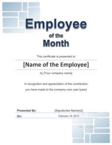 Employee Award Cetificate | Free Template For Word regarding Fresh Employee Of The Year Certificate Template Free