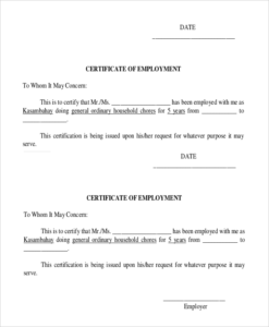Employee Certificate Of Service Template (1) – Templates pertaining to Certificate Of Service Template Free