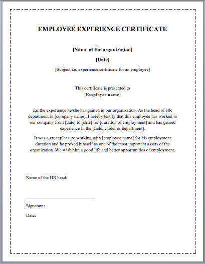 Employee Experience Certificate Template - Word Templates inside Certificate Of Experience Template