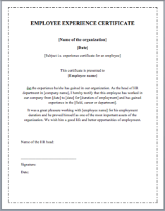 Employee Experience Certificate Template – Word Templates throughout Template Of Experience Certificate