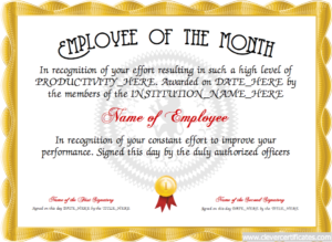 Employee Of The Month Certificate Designer | Free with Employee Of The Month Certificate Template