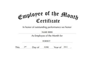 Employee Of The Month Certificate Free Templates Clip Art With Regard To Employee Of The Month Certificate Template Word