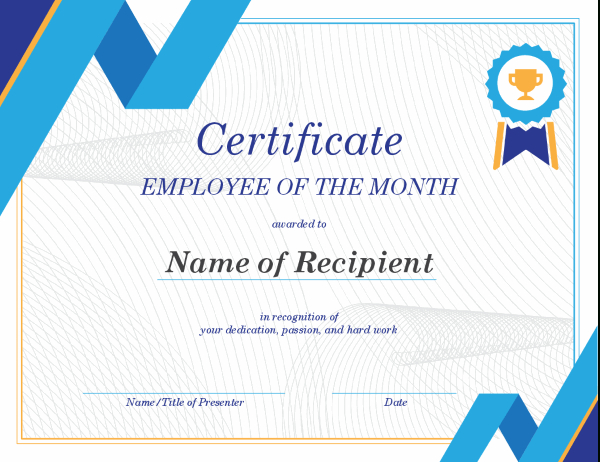 Employee Of The Month Certificate in Free Employee Appreciation Certificate Template