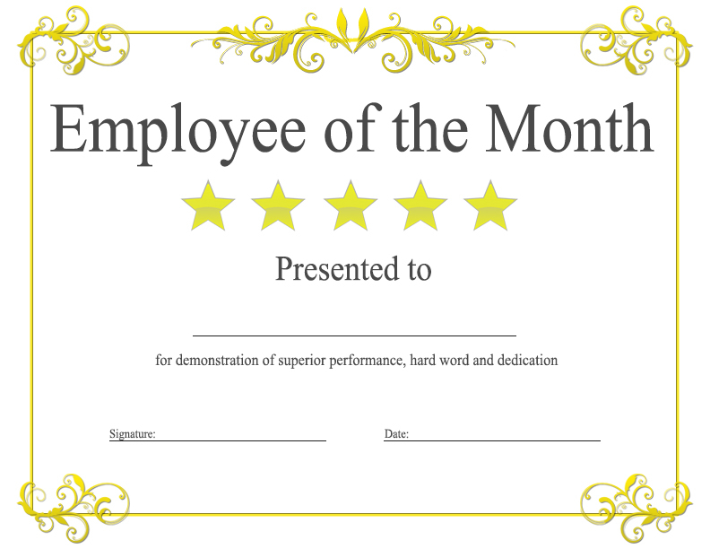 Employee Of The Month Certificate Template With Picture (2 throughout Best Employee Of The Month Certificate Templates