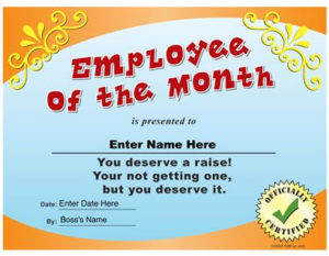 Employee Of The Month Funny Certificate Pdf | Funny with regard to Funny Certificates For Employees Templates