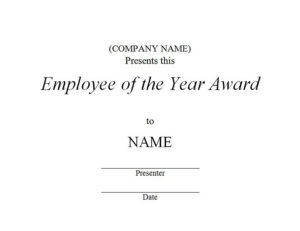 Employee Of The Year Award 3 | Free Templates Customizable for Fresh Employee Of The Year Certificate Template Free