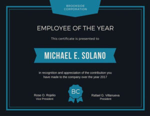 Employee Of The Year Award Certificate | Certificate regarding Fresh Employee Of The Year Certificate Template Free