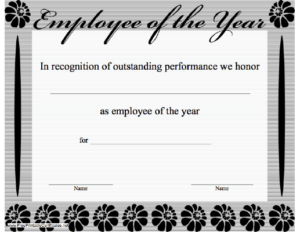 Employee Of The Year Certificate Printable Certificate with Fresh Employee Of The Year Certificate Template Free