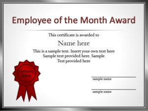 Employee Of The Year Certificate Templates – Best Samples with Employee Of The Year Certificate Template Free