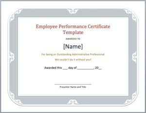 Employee Performance Certificate Template – Word Templates throughout Outstanding Performance Certificate Template