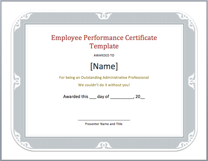 Employee Performance Certificate Template - Word Templates throughout Outstanding Performance Certificate Template