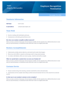 Employee Recognition Award Nomination Template – Pdf with First Aid Certificate Template Top 7 Ideas Free