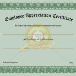 Employee Recognition Certificate Template Appreciation Inside Employee Recognition Certificates Templates Free