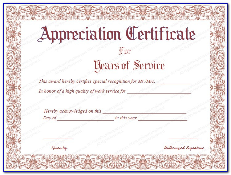 Employee Recognition Certificate Template | Vincegray2014 inside Recognition Of Service Certificate Template