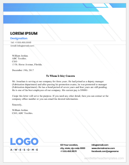 Employment Certificate Templates For Word   Word & Excel inside Certificate Of Employment Template
