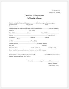 Employment Certificate Templates – Microsoft Word Templates intended for Fresh Template Of Certificate Of Employment
