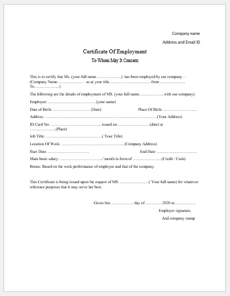 Employment Certificate Templates - Microsoft Word Templates intended for Fresh Template Of Certificate Of Employment