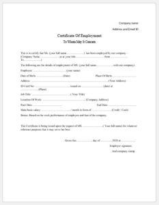 Employment Certificate Templates – Microsoft Word Templates with regard to Certificate Of Employment Templates Free 9 Designs