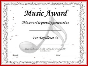 End Of The Year Music Awards: *Editable* Music Award in Piano Certificate Template Free Printable