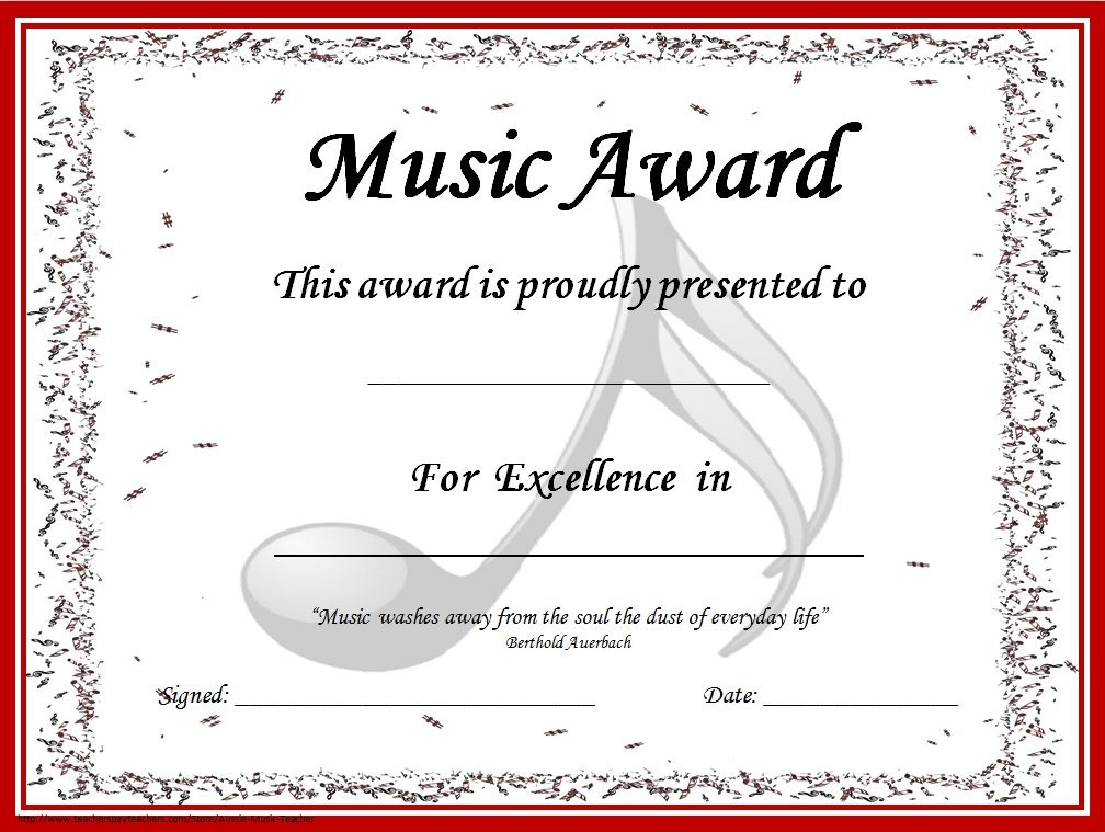 End Of The Year Music Awards: *Editable* Music Award pertaining to Music Certificate Template For Word Free 12 Ideas