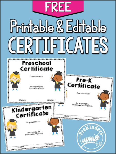 End Of Year Activities + Certificates - Prekinders intended for Editable Pre K Graduation Certificates
