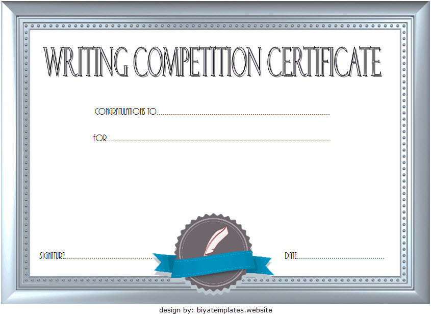 Essay Writing Competition Certificate Template Free 2 intended for Quality Writing Competition Certificate Templates