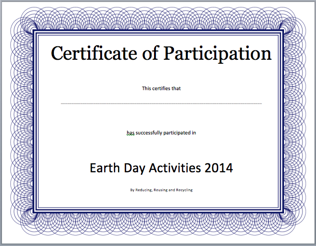 Event Participation Certificate Template - Free Template pertaining to New Certificate Of Participation Template Word