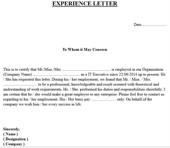 Experience Certificate Format | Download Free Experience pertaining to New Template Of Experience Certificate