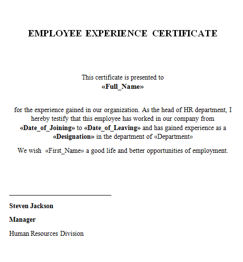 Experience Certificate - Lenvica Hrms for Template Of Experience Certificate