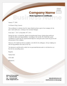 Experience Certificate Templates For Ms Word | Word & Excel intended for Template Of Experience Certificate