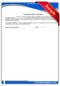 Explore Our Printable Corporate Secretary Certificate regarding Best Corporate Secretary Certificate Template