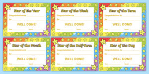 👉 Star Of The Week Award Certificate For Good Behavior inside Star Award Certificate Template
